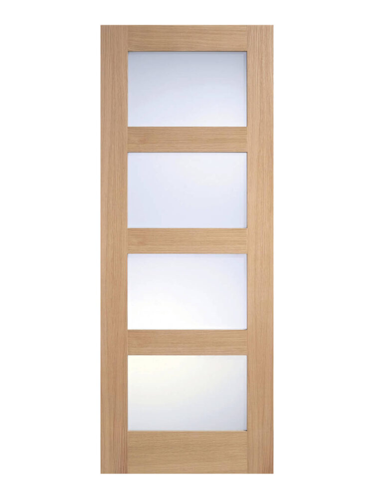 Unfinished Oak- Contemporary 4 panel Internal Frosted Glazed Door - Imperial Size