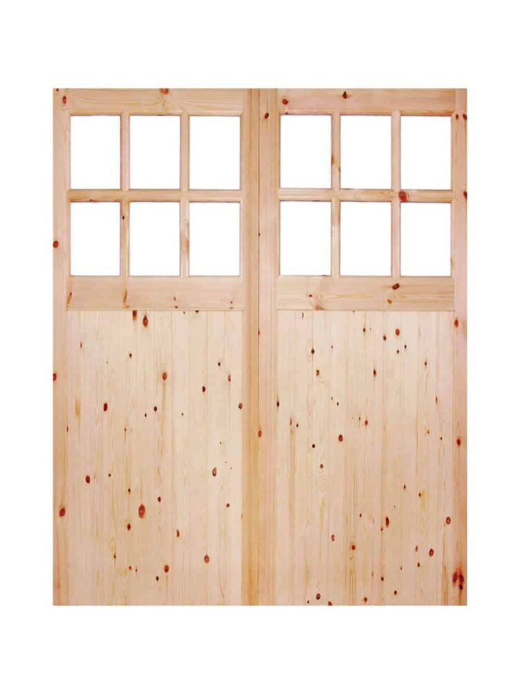 Redwood-Single-Glazed-Garage-Door-Pair