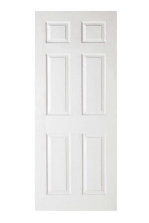 White Moulded Textured 6P FD30 Fire Door.