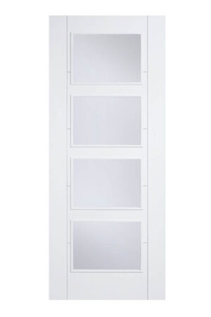 White Vancouver Glazed 4 Light Clear FD30 Fire Door.
