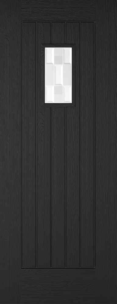LPD Embossed Suffolk 1L Pre-Finished Charcoal Grey Clear Bevel Double Glazed External Composite Door 1