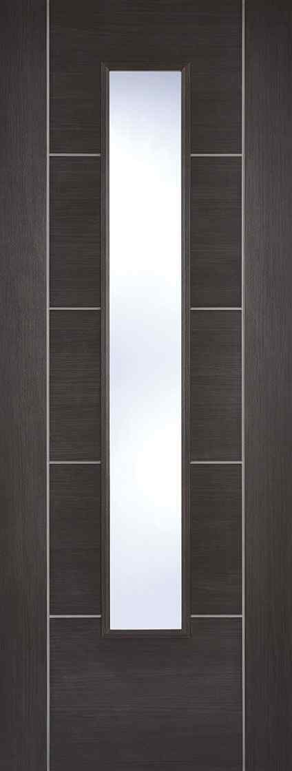 LPD Vancouver Laminated Glazed Light Grey Clear Internal Door 1