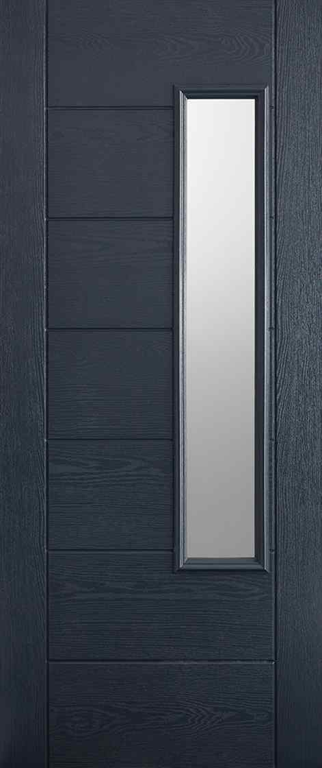 LPD Newbury 1L Pre-Finished Anthracite Grey 1L Frosted Double Glazed Unit External Composite Door 1