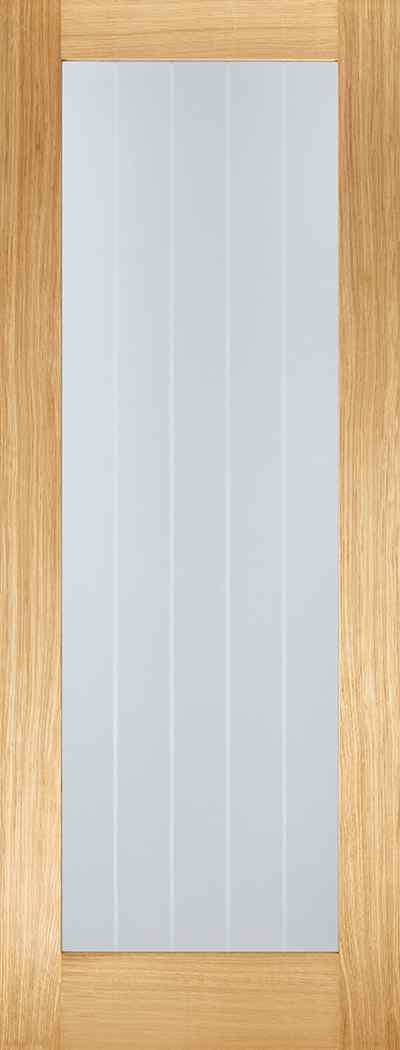 LPD Mexicano Pattern 10 Pre-Finished Oak 1L Clear Glass and Frosted Lines Internal Door 1