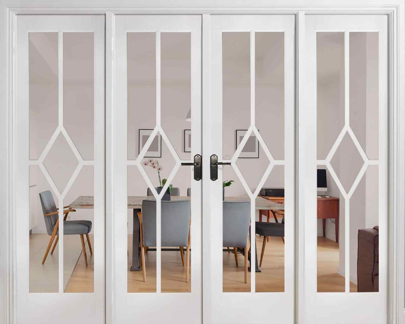 LPD Reims W8 White Primed Clear Bevelled Internal Room Divider 1