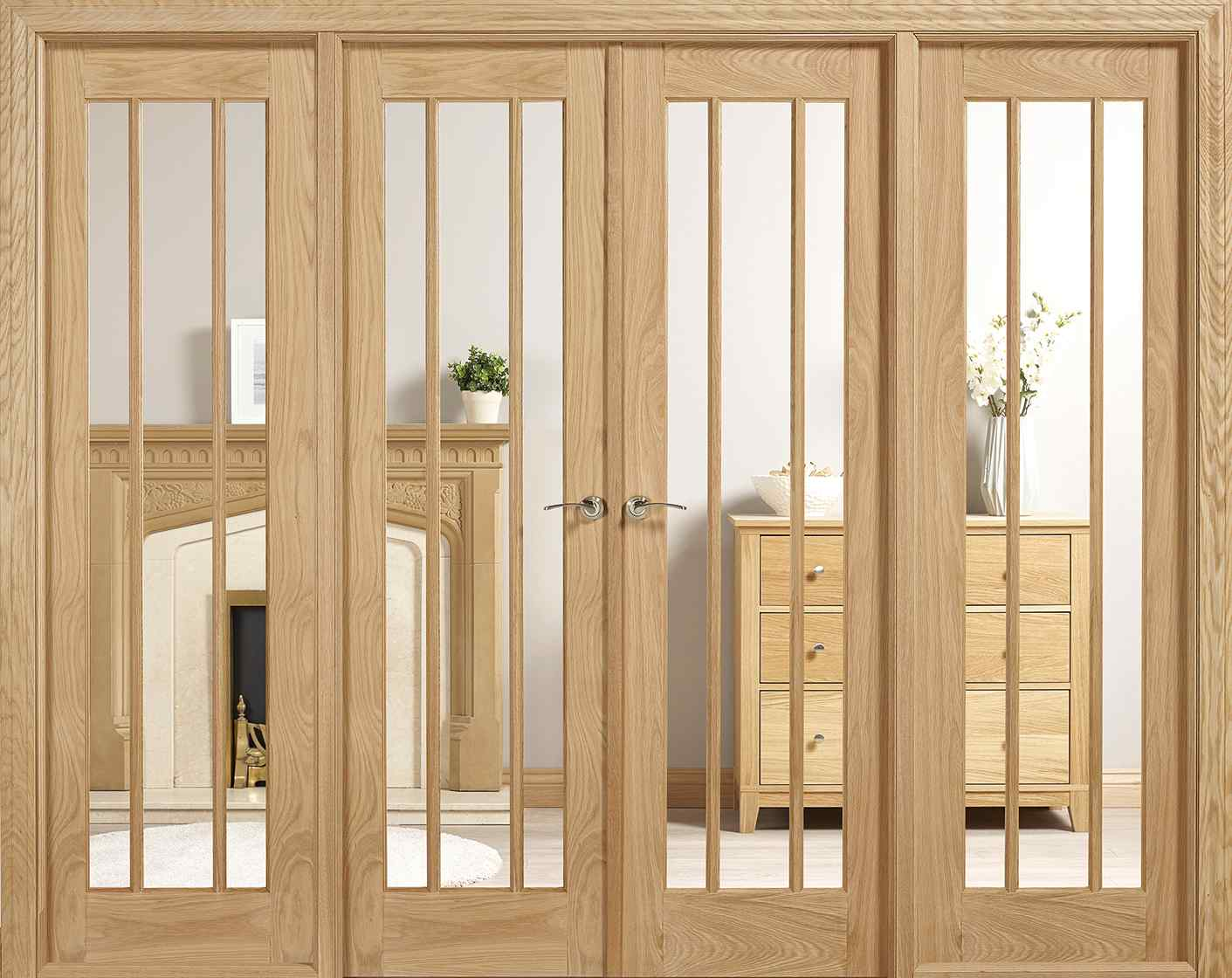 LPD Lincoln Oak W8 Unfinished Oak Clear Glass Internal Room Divider 1