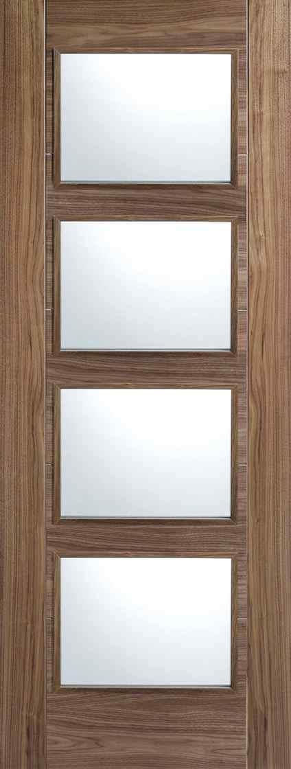 LPD Vancouver 4L Pre-Finished Walnut Clear Glass Internal Fire Door 1