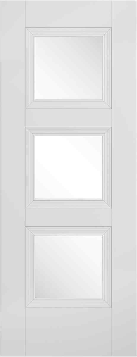 LPD Amsterdam 3L Primed Plus White Clear Bevelled Glass Internal Door 1