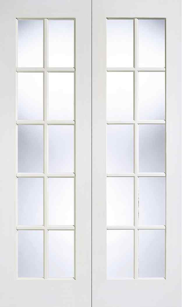 LPD GTPSA White Primed Clear Bevelled Internal French Door 1