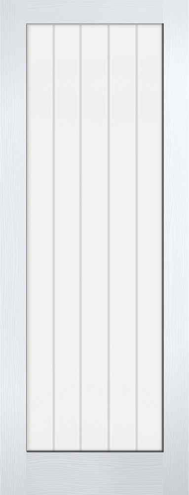 LPD Vertical 1L White Primed 1L Clear Glass and Frosted Lines Internal Glazed Door 1