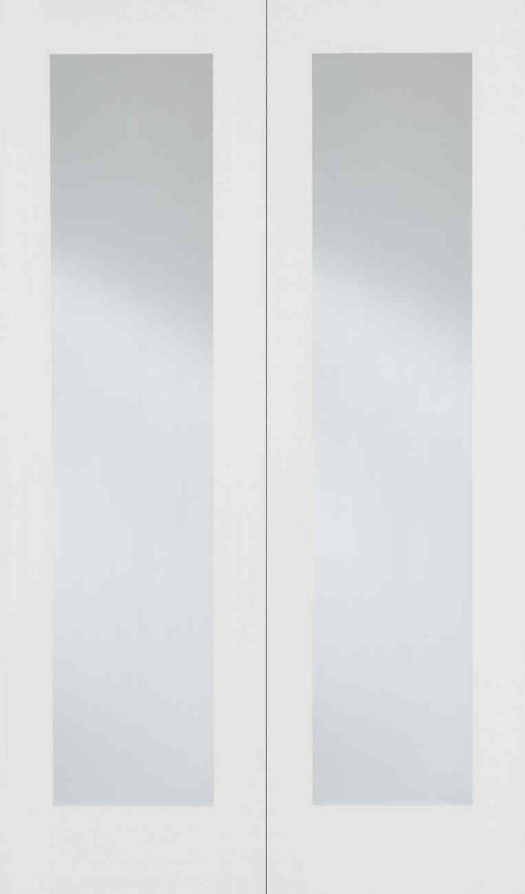 LPD Pattern 20 White Primed Clear Glass Internal French Door 1